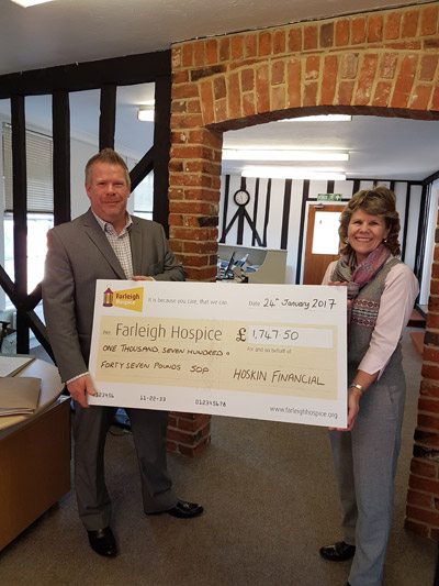 Paul Hoskin along with a Charity Cheque for Farleigh Cheque